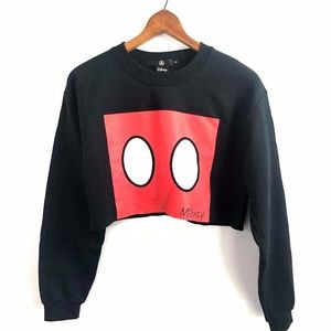 Disney Mickey Mouse Cropped Sweatshirt Black Small